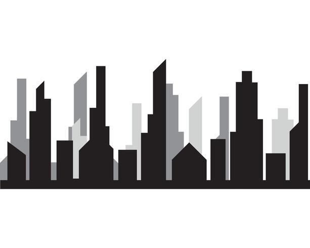 Silhouette moderna città illustrazione vettoriale in design piatto