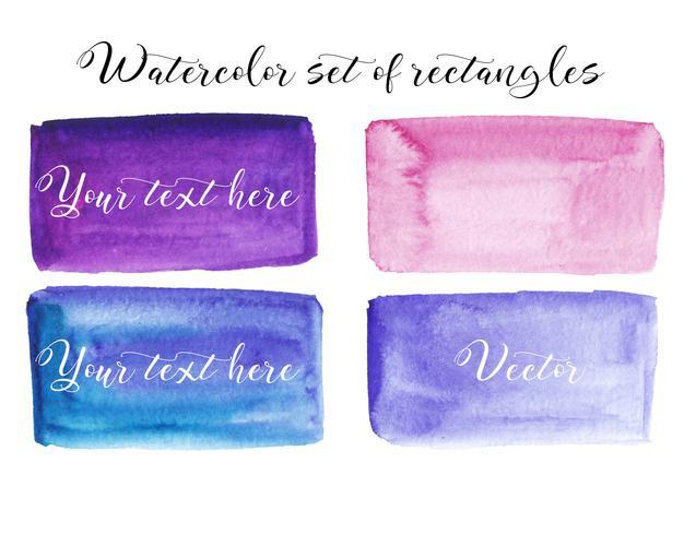 Conjunto de mancha de aquarela. Pontos em um fundo branco. Textura de aquarela com pinceladas. Retângulo, local. Roxo, azul, rosa. Vetor. Isolado.