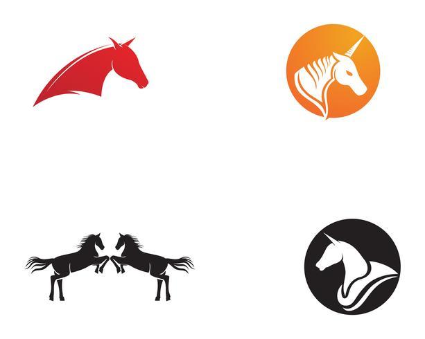 Cabeza de caballo negro Logo plantilla Vector