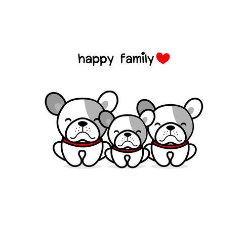 Mignonne mère père et bébé chien. Illustration vectorielle de joyeux animaux famille cartoon.