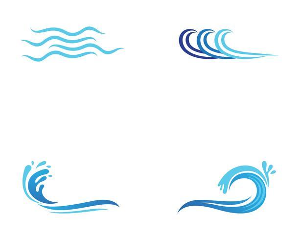 Ola playa logotipo y símbolos vector plantilla