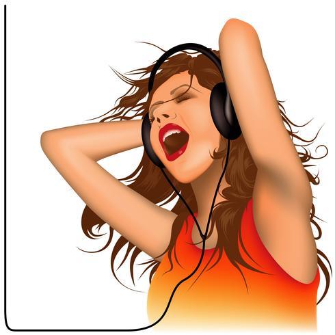 Mujer joven con auriculares y cantando