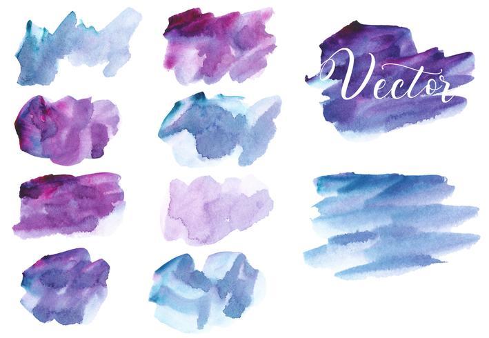 Set van aquarel vlek. Vlekken op een witte achtergrond. Waterverftextuur met borstelslagen. Abstractie. Blauw, bordeaux, paars, violet, roze. Geïsoleerd. Vector.