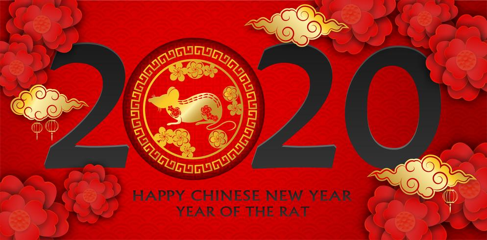 2020 feliz año nuevo chino. Diseño con flores y rata sobre fondo rojo. estilo de arte de papel. feliz año de la rata. Vector.