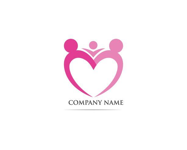 Adopción de comunidad cuidado logotipo plantilla vector