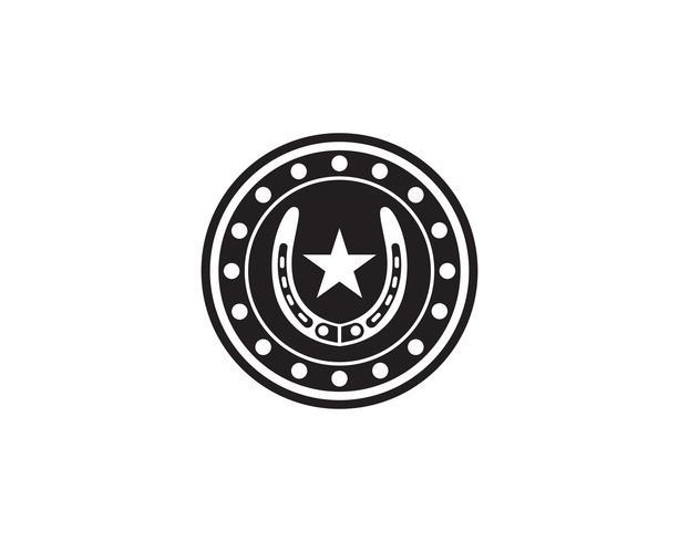 Plantilla de vector de símbolos y logotipo de zapatos de caballo negro