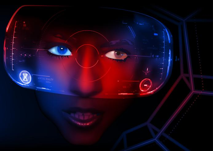 Frauengesicht mit Anzeige der virtuellen Realität