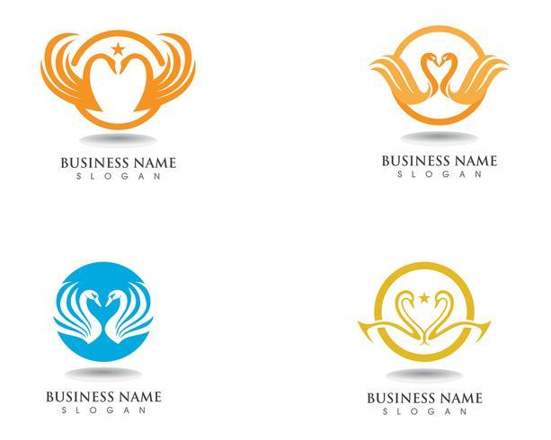 Vector de plantilla de logotipo de cisne