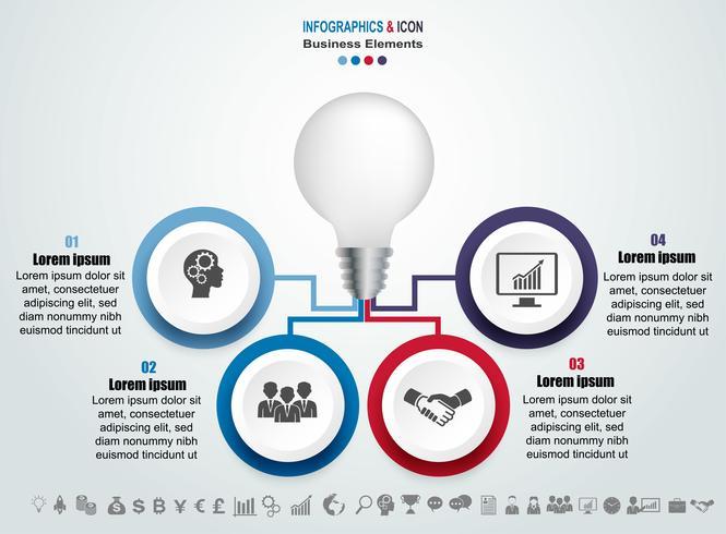 Infografik Business Timeline Prozess und Symbole Vorlage. Design mit Glühbirne, kann Idae Marketing für Workflow-Layout, Bericht verwendet werden. Geschäftskonzept mit 4 Optionen, Schritten oder Prozessen. Vektor.