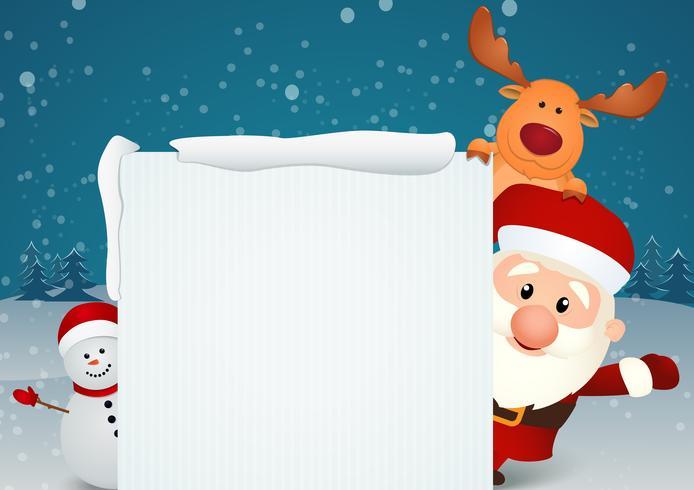 Babbo Natale con renne e pupazzo di neve