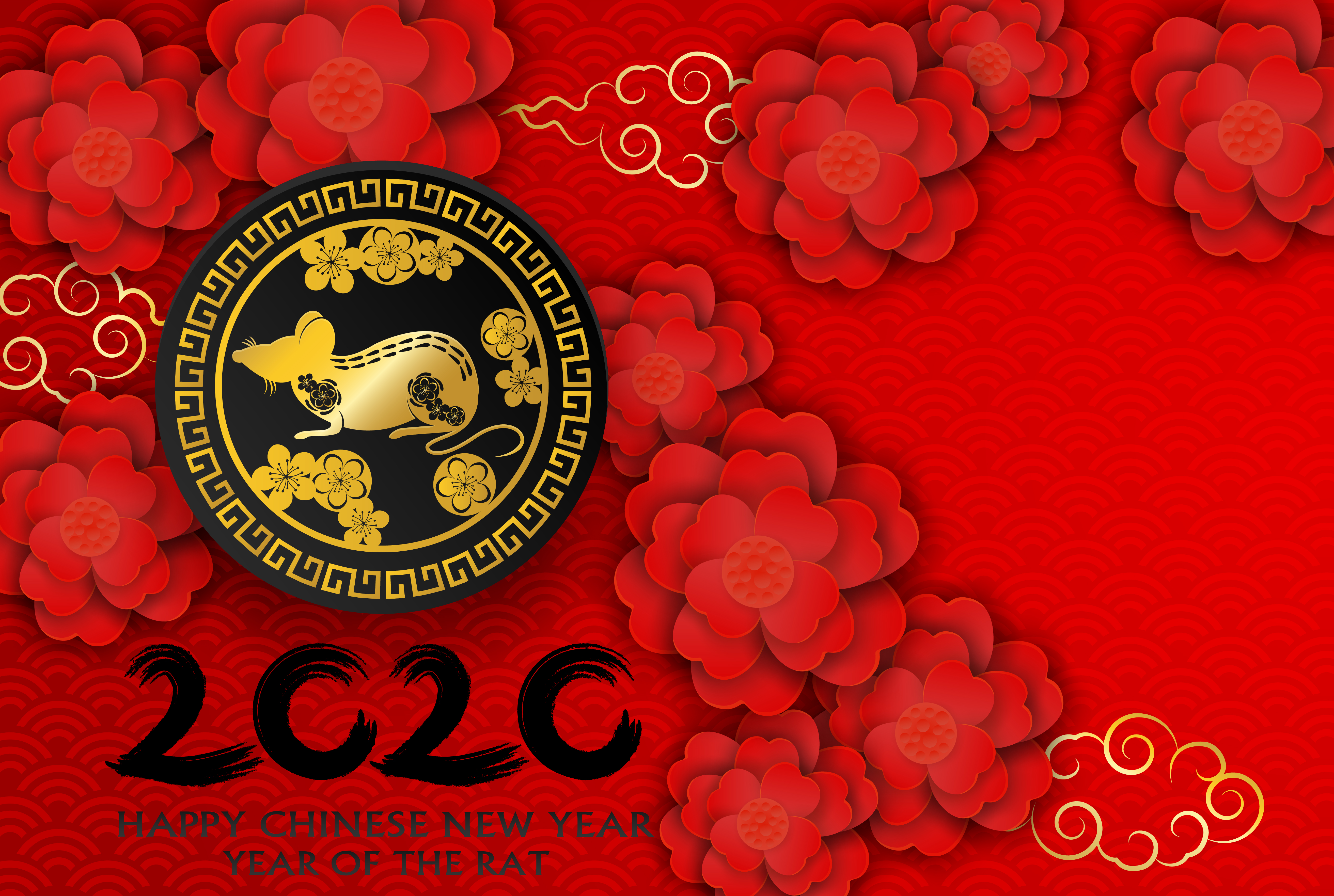 2020 Happy Chinese New Year. Design with flowers and rat ...