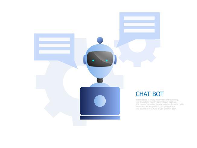Chat bot concept, robot usa laptop para chatear y trabajar.