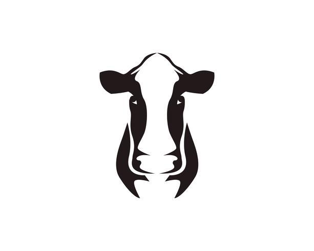Plantilla de vector de símbolos y logotipo de cabeza de vaca