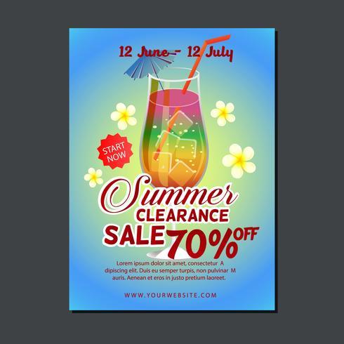 verkoop poster sjabloon met zomer drankje