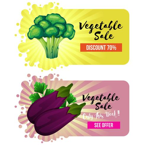 vegetable website banner with broccoli and eggplant vector