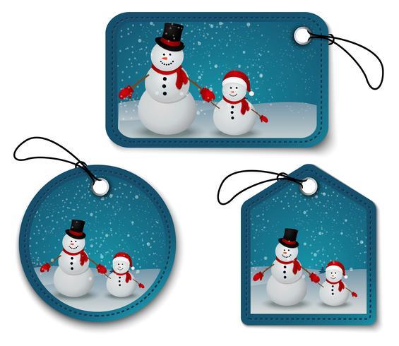 Set van kerst bubbels, stickers, labels. met sneeuwman