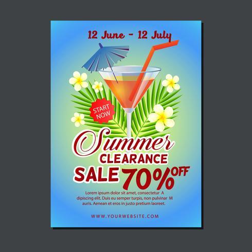 modelo de cartaz de venda com coquetel de verão