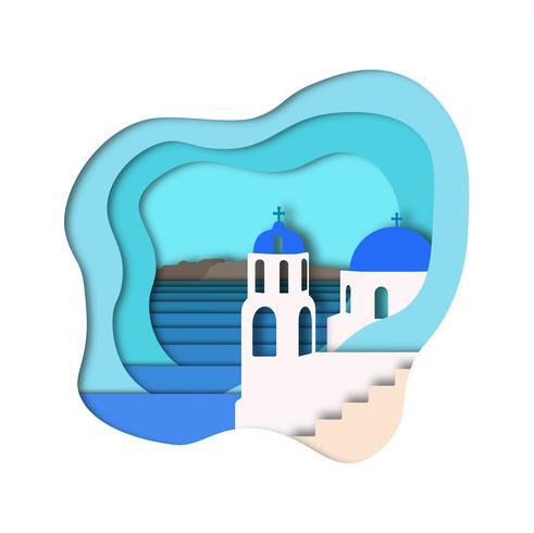 Papierkunst-Arthintergrund. Vektor Santorini Ansicht.