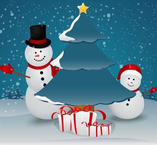 Carte de voeux de Noël avec famille de bonhommes de neige vecteur