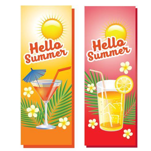 Hallo Sommer trinkt vertikale Banner