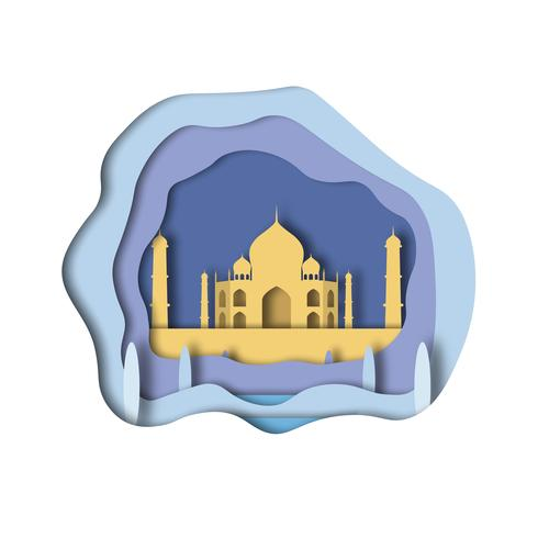 Estilo da arte do papel de Taj Mahal vetor