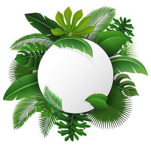 Signo redondo con espacio de texto de hojas tropicales. Adecuado para el concepto de naturaleza, vacaciones y vacaciones de verano. Ilustración vectorial