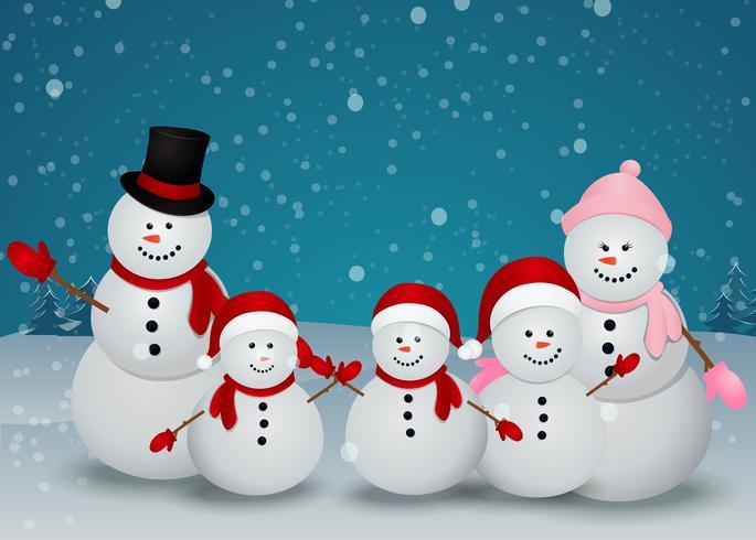 famiglia di pupazzo di neve natale sfondo