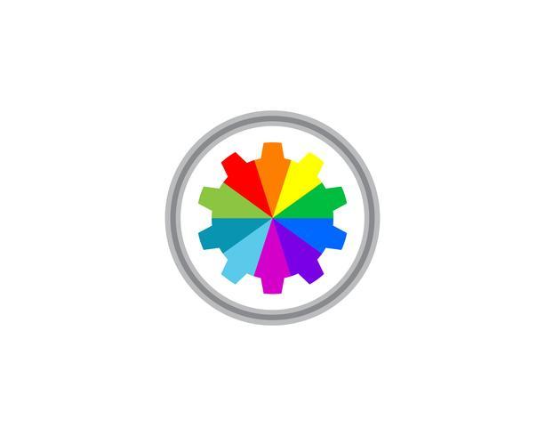 Gear rainbow Logo Template vecteur conception d'icône illustration