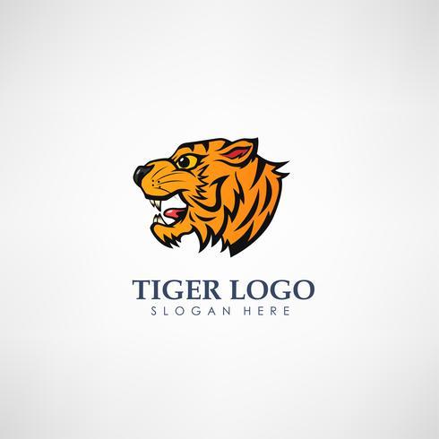 Plantilla de logotipo de concepto de cabeza de tigre. Etiqueta para la caza, empresa u organización. Ilustración vectorial