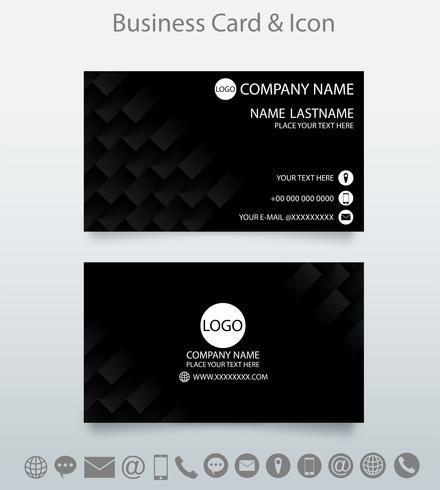 Modello di biglietto da visita creativo moderno e icona. Priorità bassa nera geometrica incisa.