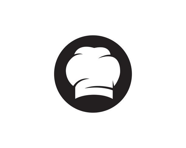 Chef sombrero logo y símbolos icono de vector de color negro