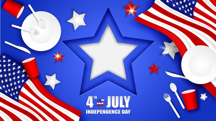 4. Juli Glücklicher Unabhängigkeitstag USA. Entwerfen Sie mit Löffel, Teller, Gabel, Messer, Papierglasgeschirr und Stern der amerikanischen Flagge auf blauem Hintergrund Vektor.