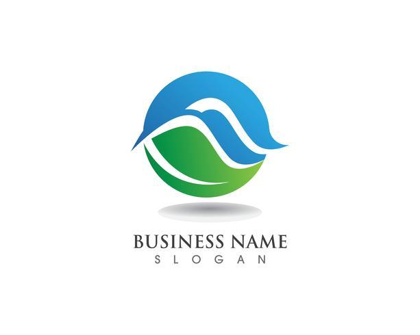 Logotipo de natureza e folha de onda