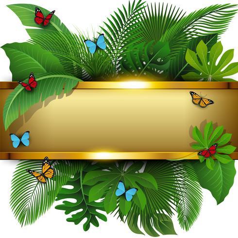 Bannière dorée avec espace de texte de feuilles et de papillons tropicaux. Convient pour le concept de la nature, les vacances et les vacances d'été. Illustration vectorielle
