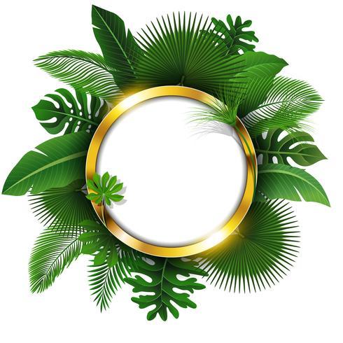 Banner redondo dorado con espacio de texto de hojas tropicales. Adecuado para el concepto de naturaleza, vacaciones y vacaciones de verano. Ilustración vectorial vector