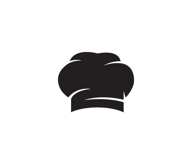Logo de chapeau de chef et icône de vecteur de couleur noire symboles