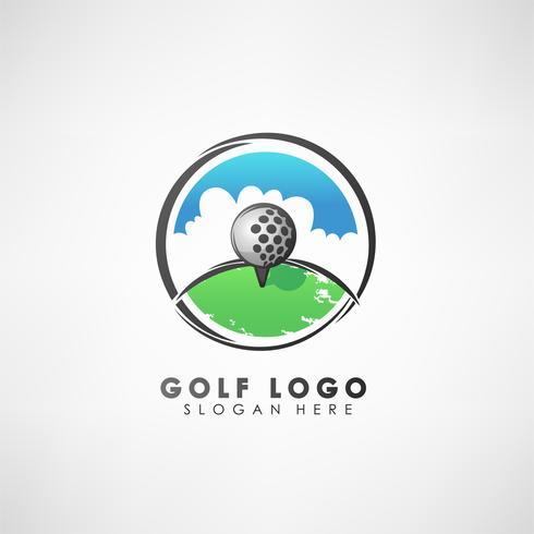 Modello di logo concetto golf con corona di alloro. Etichetta per tornei di golf, organizzazione e country club. Illustrazione vettoriale