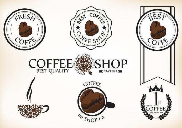 Satz Retro- Kaffeestubeausweise und -aufkleber der Weinlese