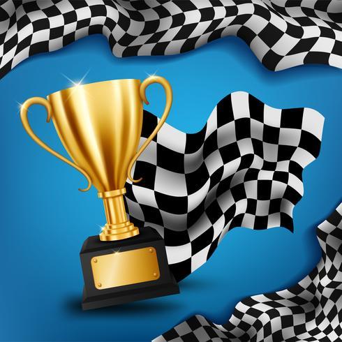 Trophée d'or réaliste avec drapeau à damier fond de championnat de courses, Illustration vectorielle