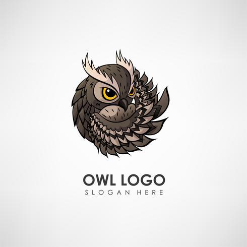 Modelo de logotipo do conceito de coruja. Etiqueta para empresa ou organização. Ilustração vetorial