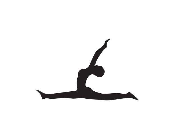 Athletic yoga body logo symbols vector icons