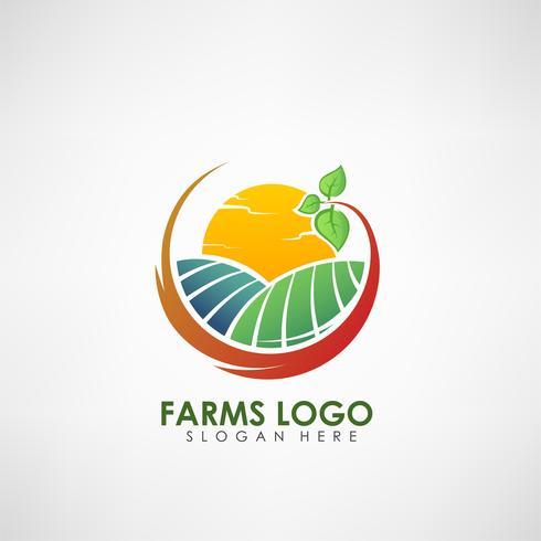 Modello di logo concetto di fattoria. Etichetta per prodotti agricoli naturali. Illustrazione vettoriale