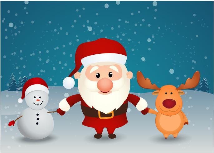 père noël, renne, bonhomme de neige, tenant mains