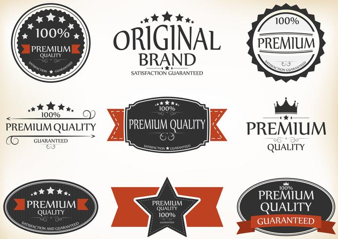 Etiquetas de calidad y garantía premium con estilo retro vintage