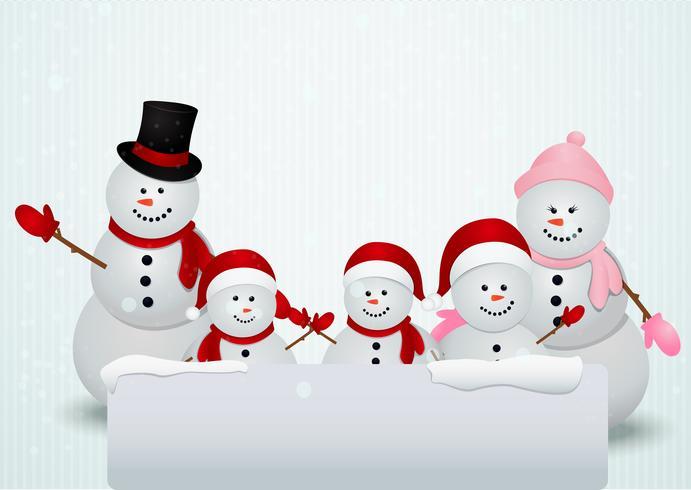 familia de muñeco de nieve fondo de navidad