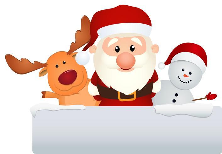 santa claus con renos y muñeco de nieve vector