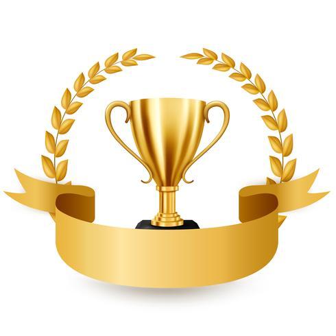 Trofeo de oro realista con corona de laurel de oro y cinta, ilustración vectorial