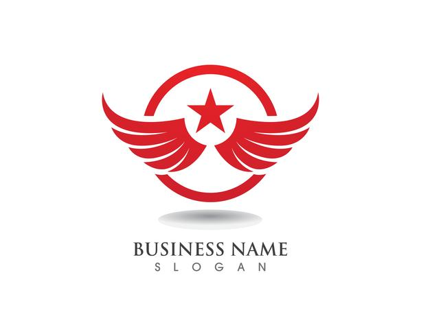 Vetor de modelo de logotipo e símbolos de falcão de asa de águia