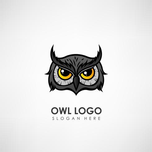 Modèle de logo concept tête chouette. Label pour entreprise ou organisation. Illustration vectorielle