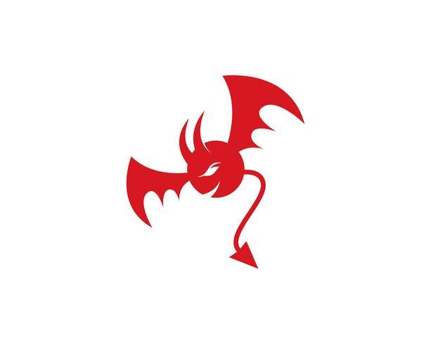Modello icona diavolo logo vettoriale rosso